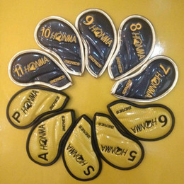 Wholesale Yellow Iron Covers - hot sell 10pcs set Honma Golf Clubs Iron Set top PU Head covers Waterproof Head Cover good quality blue yellow gold 2colors