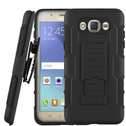 Wholesale Holsters Black - For Sumsung J7 2016 Armor Case Impact Hybrid Belt Clip Holster Kickstand Combo Case For LG Tribute HD Galaxy J1 2016 with OPP Package