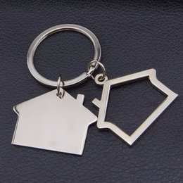 Wholesale Real Estate Wholesalers - FREE shipping 100pcs lot 2016 New Spin House Shaped Keychains Metal Real Estate Keyrings Custom LOGO for Gifts