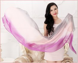 Wholesale Real Steal - Fashion Gradient Silk Scarves for Women Shawls Pashmina 100% Real Silk Scarves Wraps Mulberry Silk Scarf Hijabs Capes 180X60CM 10 Colours