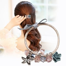 Wholesale silver butterfly headband - Woman headdress hair Colorful plaid (jewelry) Tousheng butterfly scalp hair band ligation rope headdress hairpin hair ring F0448