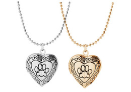 Wholesale Heart Locket Photo Frame Necklace - New Arrival Valentine Lover Gift Animal Dog Paw Print Photo Frames Can Open Locket Necklaces Heart Pendants fit Necklace Women