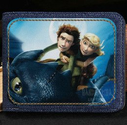 Wholesale Dragon Card Holder - How to train your dragon wallet Nice purse Cartoon film short cash note case Money notecase Leather burse bag Card holders