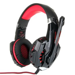 Wholesale Anti Noise - Professional game G9000 headsets Adjustable anti-noise LED dazzle light stereo HIFI computer Apple gaming game headphones - Red Black