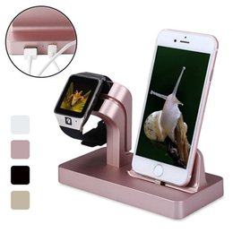 Wholesale Iphone 5s Cradle - 2 in 1 USB Sync Charge Dock For iWatchs Watch & For Apple iPhone 5 5S 6 6S 7 7 Plus Charging Dock Station Cradle Stand Holder