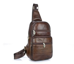Wholesale Mens Crossbody Bags - 2017 Cow Genuine Leather Mens Sling Bag Single Shoulder Bag Men Chest Crossbody Bag Waist Pack for Man Bolsas Masculina MBA37