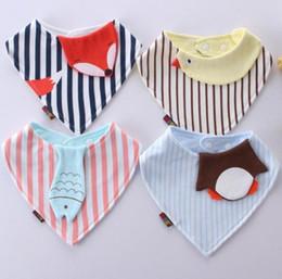 Wholesale Duck Tie - Fox Cotton Baby Bibs Newborn Girls Boys duck fish Burp Cloths Double Layer Cartoon Animal Towel Bandanas Infant Saliva Towels