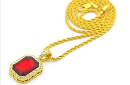Wholesale Mini Stones - Vintage Golden Bling Iced Out Mini Stone CZ Pendants Necklaces Men Women Charm Crystal Hip Hop Jewelry Gifts Chain