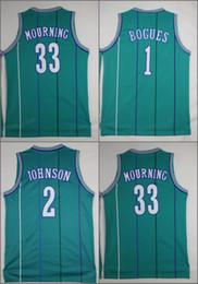 Wholesale Vintage Shirts Xxl - Throwback Basketball Jerseys 1 Tyrone Muggsy Bogue 2 Larry Johnson 33 Alonzo Mourning Stitched Shirts Basketball Jersey Vintage MENS S-XXL