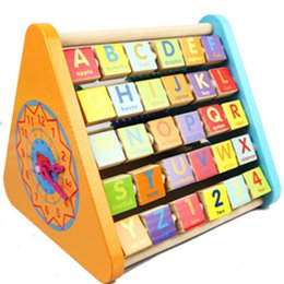 Wholesale Wooden Shaped Beads - Wooden Toy multifunctional educational Maths Teaching beads Calculator numbers ABACUS LETTER ALPHABET kids toy LEARNING clock shape fish hot
