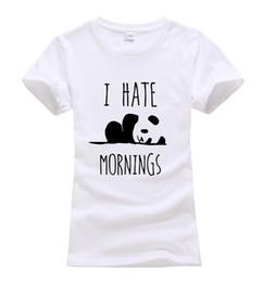 Wholesale Funny Korean T Shirts - Wholesale-I HATE MORNINGS Panda kawaii Printed T shirt Women Cotton black tops Tees harajuku femme 2016 summer brand korean funny geek