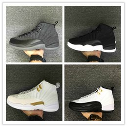 Wholesale Nude Cotton Fabric - 2017 retro 12 XII basketball shoes ovo white Flu Game GS Barons wolf grey Gym red taxi gamma french blue sneaker