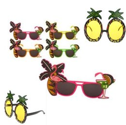 Wholesale Glass Wedding Party Favors - Hawaiian Flamingo Glasses Beach Pineapple Sunglasses Party Fruit Decor Tropical Goggles Night Stage Fancy Party Favors CCA7585 300pcs