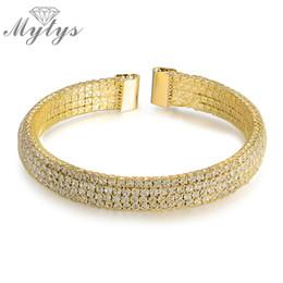 Wholesale Tennis Net Wholesalers - Wholesale- Mytys Gold Plated Cuff Open Bracelet Wire Mesh Net Tennis Bracelet Free Size B1024