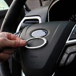 Wholesale Ford Mondeo Wheels - 3D Creative Chrome Steering Wheel Logo Sticker for Ford Fiesta Ecosport Kuga Escape Focus MK2 MK3 MK4 For Mondeo 2013 - 2016