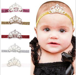 Wholesale Pearl Elastic Headband - Baby Kids Handmade Hairbands CROWN Rhinestone Pearls Multi Colors glittery Elastic headband Costume Photo headband F114