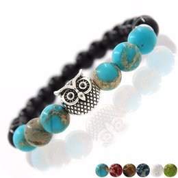 Wholesale Leather Crystal Owl Bracelet - 2017 New Owl Natural Stone Beads Bracelet & Bangle for Men Women Stretch Yoga Lava Stone Jewelry Fashion Accessories for Lovers