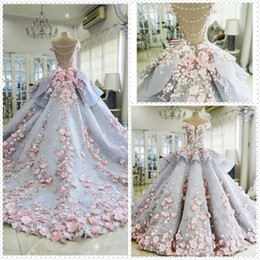 Wholesale Charm Wedding Dress Short Strapless - 2017 Sparkle 3D-Floral Applique Wedding Dresses Strapless Lace Beading A Line Bridal Gowns Sweep Train Backless Charming Luxurious Dresses