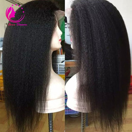 Wholesale Long Black Lace Wig Yaki - Unprocessed virgin Lace front Wig With Natural Hairline Yaki Straight Brazilian Lace Front Wig For Black Women kinky straight lace wigS