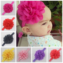 Wholesale Wide Lace Headband Wholesale - Kids Lace Pearl Big Flower Headband Wide Band Hairband Newborn Flowers Head Wrap Elastic Hair Band Accessories Bandeau