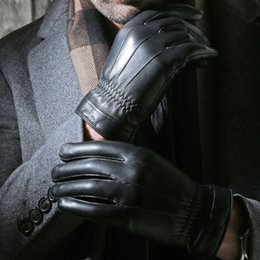 Wholesale Italian Mesh - Wholesale- Winter Spring 2015 High Quality Fashion leather wrist mesh Imported Italian nappa new Leather Men Sheepskin Mittens Gloves