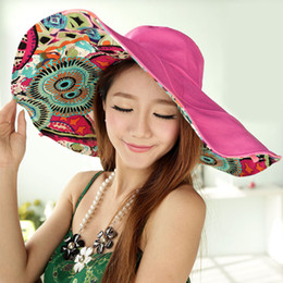 Visières solaire femme en Ligne-Hot 2017 Femmes Mode Anti-UV Chapeaux d'été Protection contre le visage rabattable Beach Hat Wide Big Brim Visière réglable Sun Hat WD070