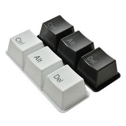 Wholesale Alt Del - 3Pcs Set Novelty Keyboard Design Ctrl Alt Del Delet Type Tea Coffee Mug Cups with Set Tray Creative Food Bowls Gift Black White