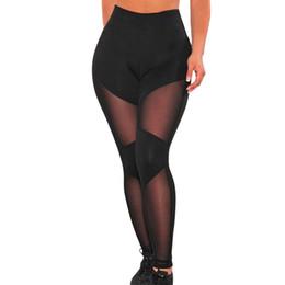 Wholesale Leggings Shiny Black Sexy - Wholesale- Women leggins black sheer mesh leggings sexy patchwork transparent mesh fitness mesh shiny jeggings 2016