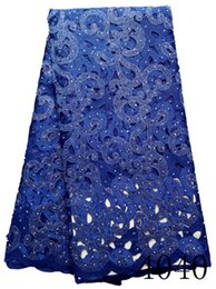 Wholesale Hand Cut Laces - Latest French Lace with Stones Hand Cut Tulle Laces Fabrics in Royal Blue for Women Evening Party Dresses