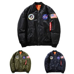 Wholesale V Necks Thick - Wholesale- New MA-1 NASA Navy flying Men's jacket,Nylon Thick Winter letterman varsity american college bomber flight jacket for men
