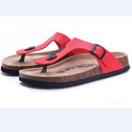 Wholesale T Cork - Wholesale-Eur size 5-9 Cork New Summer style Fashion Men Women Flats Slippers Lovers Beach Shoes Women Sandals Flip flops Black white blue