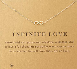 Wholesale Free Love Heart - With card! Silver and gold color cute Dogeared Necklace with love pendant(infinite love), no fade, free shipping and high quality.