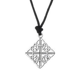 Wholesale Men Owl Pendants - comejewelry Adjustable Square &Handmade Open Pendants Irish Knot Retro Abstract Wisdom Owl Necklace Talisman Four World jewelry For Men
