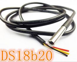 Wholesale Meters Temperature Sensors - 10pcs lot DS18B20 Stainless steel package 1 meters waterproof DS18b20 temperature probe 18B20
