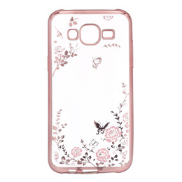 Wholesale S4 Flower Case - Clear Bling Diamond Crystal Flower Plating TPU Soft Case For SAMSUNG S4 S5 S6 rubber Phone Covers Cases