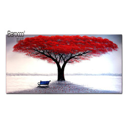 art canvas red tree painting Promo Codes - Hand Painted Landscape Abstract Oil Painting Red Leaves Tree Modern Wall Art Decora Home Living Room Bedroom