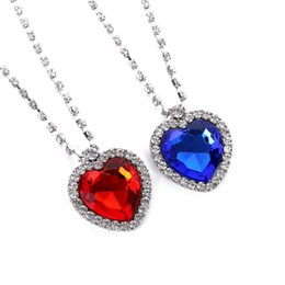 Wholesale Titanic Ocean Heart Necklace - Women's Titanic Star Ocean Necklaces Pendants Fashion Jewelry Rhinestone Blue Heart of the Ocean Best Free Shipping