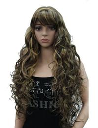 Wholesale Wavy Light Auburn Wig - Long Thick Wavy Black,Brown,Blonde Synthetic Wig Women Wigs