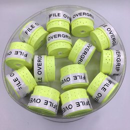 Wholesale high quality tennis grips - Wholesale- (60 pcs lot) Neon Green ProFile High quality Tennis Overgrip perforated sticky feel Tennis Rackets Grips Badminton Overgrip