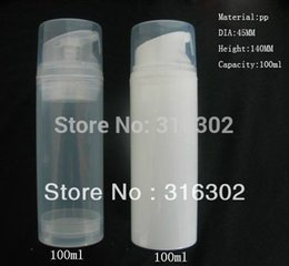 Wholesale White Airless - Wholesale- 12 x 100ml Empty Clear White Airless Lotion Pump Bottle Container