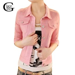 Wholesale Ladies Half Jackets - Wholesale- Lace Girl 2017 Spring Autumn Cotton Denim Jacket Ladies Denim Outwear Women Candy Color Jean Jacket Female Casual Half Sleeve