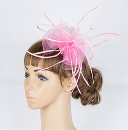 Wholesale Wholesale Church Decorations - Free Shipping Handmade Elegant Church Kentucky Derby Feather Fascinators Hats Bridal hats Wedding& Events Hair Decoration Accessories MYQ046