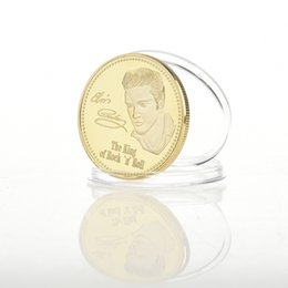 Wholesale Antique Carved Box - 1PC Elvis Presley Commemorative Coin 1935-1977 The King of N Rock Roll Gold Commemorative Coin Gift BTC012
