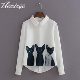 Wholesale Cat Woman Blouse - Women Blouse Shirt 3 Cats Printed Elegant Summer Long Sleeve Lapel Tops Lady Casual Chiffon Pullover