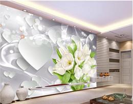 Fondos de pantalla del corazón online-White Tulip Bouquet Heart 3D TV Fotomural Papel tapiz 3d Papel de pared 3d para telón de fondo de televisión