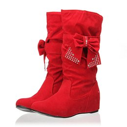 Wholesale Girls Boots Leather Sexy - Wholesale- Mid-Calf Soft Anti-slip Boots Sexy Womens Spring Autumn Shoe Inside High Increasing Ladies Girls Sweet Bowknot Flat Heel Shoes
