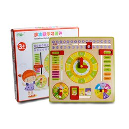 Apprendimento orologi online-Nuovo design Giocattolo educativo Orologio in legno Baby Kids Date Learning Sviluppo evolutivo Flap Abacus Orologio giocattolo in legno
