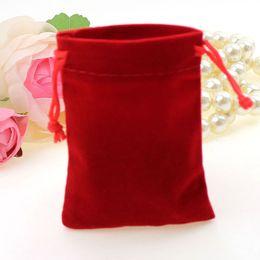 Wholesale Black Velvet Jewelry Gift Bags - 100Pcs red black Velour Velvet Bag Jewelry Pouch 9X12cm Gift Bags Jewelry Pouches, Bags Jewelry Packaging 020011