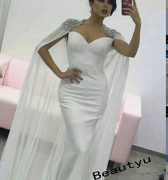 Wholesale Silk Wrap Robe - White Mermaid Wrap Evening Dress Stunning Crystals Long Prom Dresses 2017 Arabic Dubai Party Formal Gowns Women Robe De Soiree
