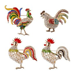 Wholesale Women For Sail - Trendy big rooster broch jewelry fashion Multicolor crystal Rhinestone brooches female animal Brooches for women hot sail